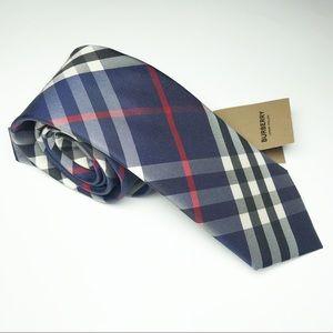NWT Burberry Manston Navy Check Silk Tie